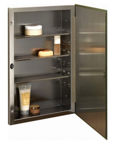 Jensen 868P24SSG Galena Frameless Basic Medicine Cabinet, Stainless Steel, 16-Inch by 26-Inch by 4-1/2-Inch