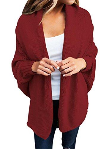 ual Long Dolman Sleeve Draped Open Front Cozy Loose Knit Cardigan Sweaters Oversized Outwear Coat Wine S 4 6 ()