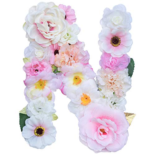 Artificial Pink Floral Decorative Letters, Alphabet Letters With Fake Flowers For Special Occasion/ Event, 7.9