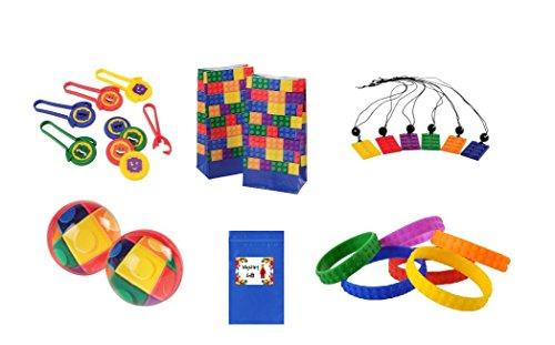 Building Block Mania for 12 (Necklace, Bouncy Balls, Shooters, Bracelet & Bags) (Jurassic World Rubber Bracelets)