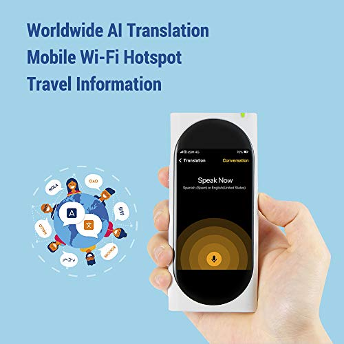 Langogo AI Language Translator Device with Wi-Fi Hotspot, 92 Languages Instant Two-way Voice Translator with eSIM inside, 3.1inch Retina Display, Noise-cancelling, Pocket Translator for Travel, White by Surfit (Image #2)