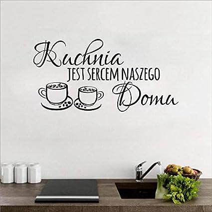 Polonia Cocina Cita Pegatinas de Pared calcomanías de Vinilo Restaurante Cocina extraíble Pegatinas de Pared DIY decoración del hogar Arte de la Pared Mural, 80x40 cm