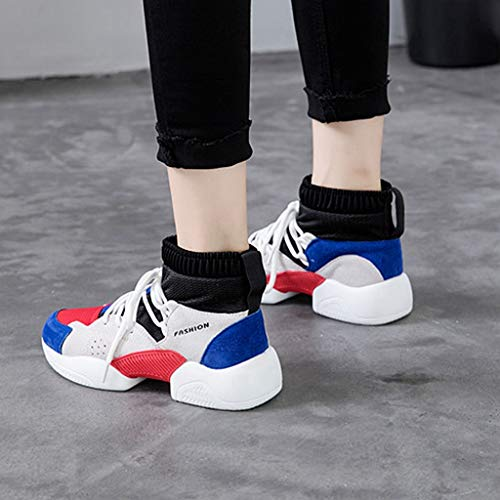 Comfort Casual up Sneaker Platform Shoes Lace Breathable Athletic Mesh On Sport GIY Running Blue Womens Slip qRxXzSv