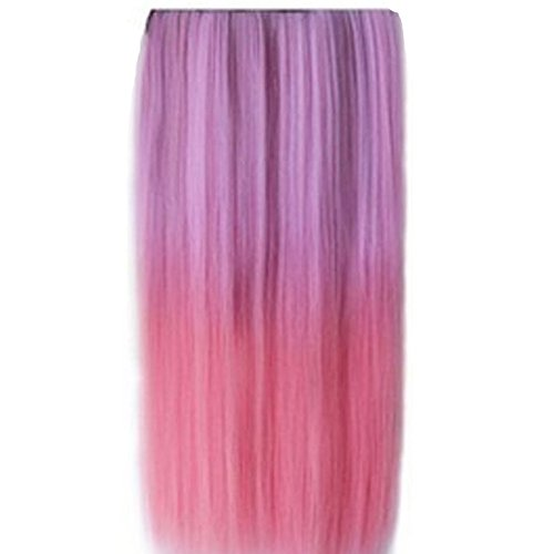 RightOn 22'' Two Tone One Piece Straight Synthetic Thick Hair Extension Clip-On Hairpieces (Light Purple to Pink)