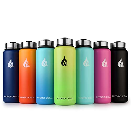 HYDRO CELL Stainless Steel Water Bottle with Straw & Wide Mouth Lids (40oz) - Keeps Liquids Perfectly Hot or Cold with Double Wall Vacuum Insulated Sweat Proof Sport Design (Mandarin 40oz)