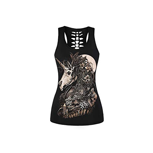 Summer for Women Animal Print T Shirt Sleeveless Tank Top Bandage Casual Tops Camisole Black Female Halter Tank Top,Dragon,XL