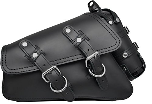 La Rosa Design 04-UP Harley-Davidson Sportster Nightster 1200 Forty-Eight 72 Roadster Left Side Saddle Bag Swingarm Bag with Fuel Bottle Holder - Black Faux Leather ()
