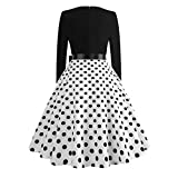 Keliay Bargain Women Vintage Bodycon Long Sleeve O Neck Evening Printing Party Prom Swing Dress