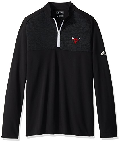 NBA Chicago Bulls Men's Climawarm Fashion 2 Layering 1/4 Zip Pullover Jacket, Black, Large