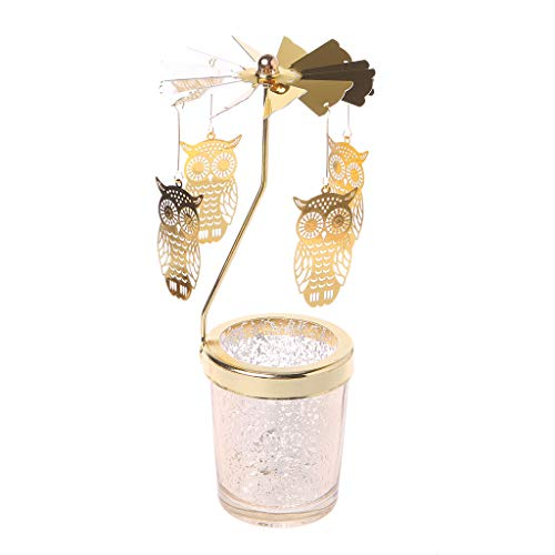 Oranmay Xmas Rotating Spinning Carousel Tea Light Candle Holder Center Home Decor Gifts (Owl)
