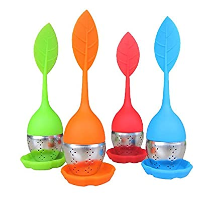 Bekith Tea Infuser - Set of 4 Silicone Handle Stainless Steel Strainer Drip Tray Included - Loose Tea Steeper - Best for Loose Leaf or Herbal Tea