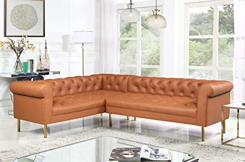(Iconic Home Noah Left Facing Sectional Sofa L Shape PU Leather Upholstered Button Tufted Roll Arm Design Solid Gold Tone Metal Legs, Modern Transitional, Camel)