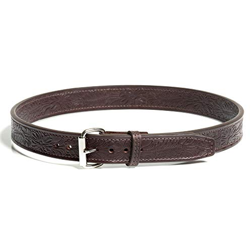 BigFoot Gun Belts English Bridle Dual Layers 44 Inch Floral Pattern Leather Gun Belt Dark Brown | 14oz Steel Core | Flat Silver Buckle
