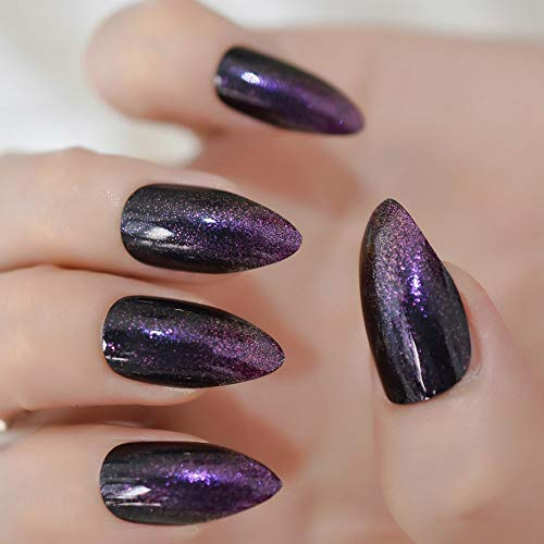 CoolNail Purple Glitter French Black Stiletto False Nail Almond Art Tips Almond Fake Nails Press Daily Wear]()