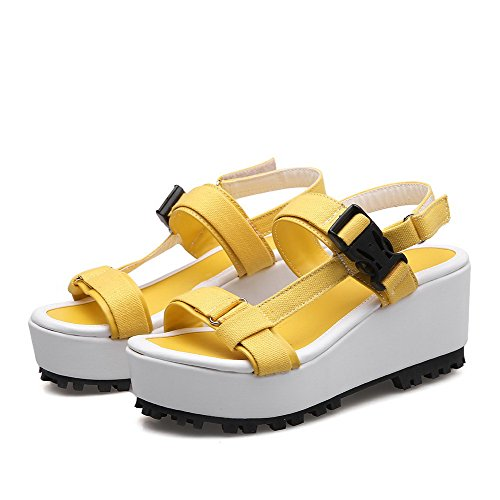 Materials Hook WeenFashion Yellow Kitten and Wedges Blend Loop Open Women's Platforms Toe amp; Heels 1qg5qB0w