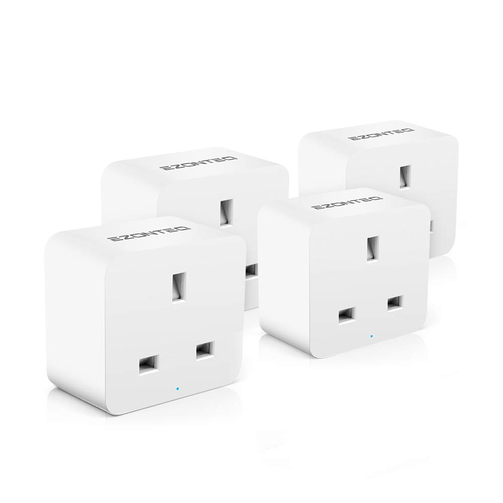 Mini Wi-Fi Smart UK Plug Alexa– EZONTEQ Remote Control Switch Socket Controlling Lights and Appliances from Phone Wireless Working with  Alexa Echo Google Home (2 Packs)