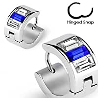 316L\x20Surgical\x20Stainless\x20Steel\x20Hoop\x20Earring\x20with\x20Blue\x20and\x20Clear\x20Gems
