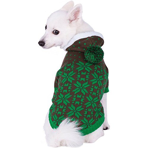 (Blueberry Pet 6 Patterns Let It Snow Classic Ugly Christmas Holiday Snowflake Pullover Hoodie Dog Sweater in Green, Back Length 16