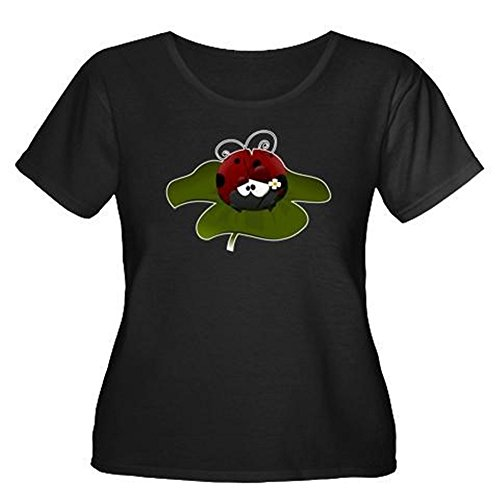 Truly Teague Womens Plus Scoop Drk T-Shirt Cute Little Lady Bug Sitting on a Clover - Black, Plus Size - Preditor 2