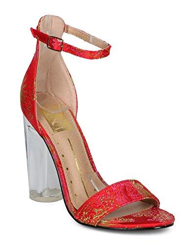 Sandalo Alrisco Donna Con Tacco Largo Di Blocco - Cinturino Alla Caviglia Con Tacco Lucite - Tacco Grosso Formale Formale Elegante Da Cerimonia - Hd97 By Fahrenheit Collection Red