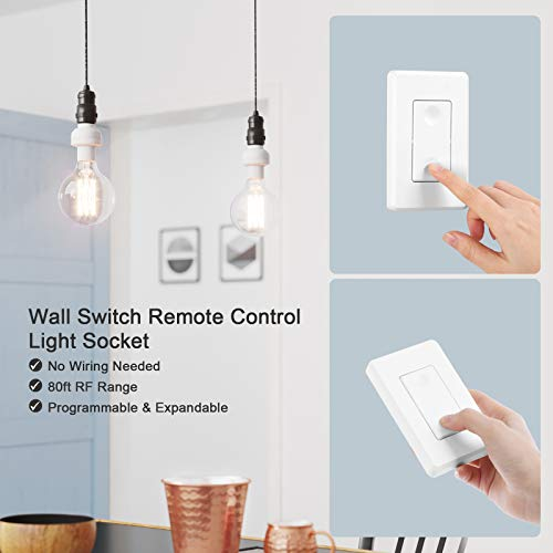 DEWENWILS Remote Control Light Lamp Socket E26 E27 Bulb Base Holder White Wireless Light Switch Kit Programmable, 3 Sockets 1 Remote, HRLSXXA Series Remote Lighting Fixtures