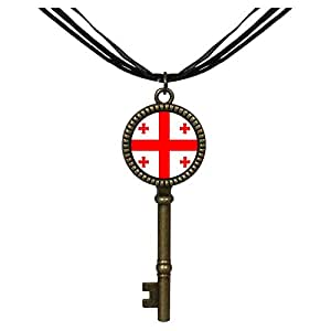 Chicforest Bronze Retro Style Georgia flag Jewelry Vintage Key Pendant