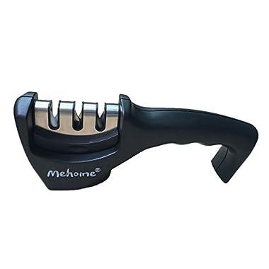 Mehome Knife Sharpener, 3 Stage Sharpening System for Knives, Black