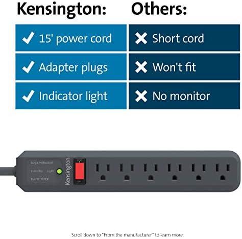 Kensington Guardian 6 Outlet, 15-Foot Cord, & 540 Joules Premium Surge Protector (K38215NA)