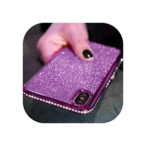 Rhinestone Glitter Case for iPhone Xs Max Xr 10 X 7 8 Plus 6 6S Soft Silicone TPU Diamond Sexy Girl Protector Back Cover,Purple,for iPhone 8