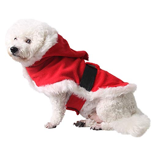 - AOFITEE Dog/Cat Christmas Costume Pet Cute Santa Cloak Cape, Winter Warm Fleece Puppy Hoodie Coat Holiday Xmas Cosplay Party Outfit for Small Medium and Large Dogs