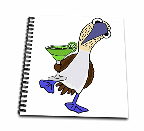 Footed Pastel - 3dRose All Smiles Art Drinking - Funny Cute Blue footed Booby Bird Drinking Margarita Cartoon - Memory Book 12 x 12 inch (db_260948_2)