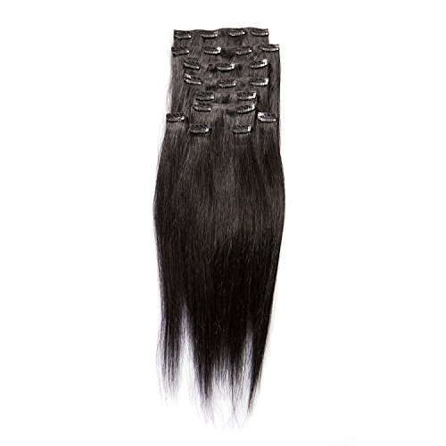 """Price comparison product image Sono 1 Count 140 g 16"""" Clip-in Straight Sono 1 Count 100% Human Hair Extensions, #1 Jet Black"""