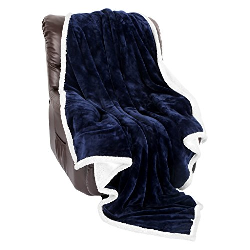 LANGRIA Sherpa Blanket Super Soft Warm Breathable Lightweight Reversible Bed or Couch Throw Fleece Blanket Eco-Friendly Easy Care for Winter (60 x 80 inches Twin Size, Navy Blue)