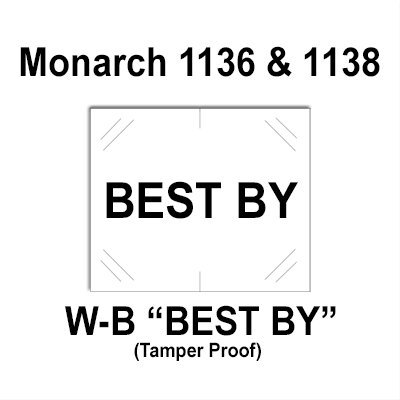 112,000 Monarch compatible 1136/1138 ''Best By'' White General Purpose Labels to fit the Monarch 1136, Monarch 1138 Price Guns. Full Case + includes 8 ink rollers. by Infinity Labels
