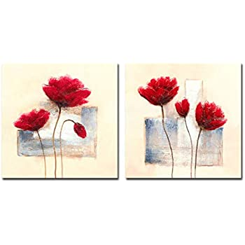 Wieco Art Charming Spring Modern 2 Piece Floral Giclee Canvas Prints Artwork Abstract Red Flowers Oil Paintings Style Pictures on Canvas Wall Art for Living Room Bedroom Home Decorations