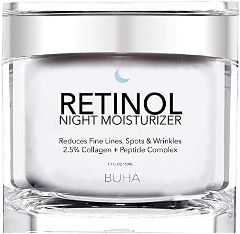 Retinol Night Moisturizer Cream for Face 2.5% with Collagen & Peptide Anti-Aging Complex for Wrinkles, Fine Lines & Skin Tone. Improves Skin Elasticity and Boosts Natural Collagen Production - 50ML.