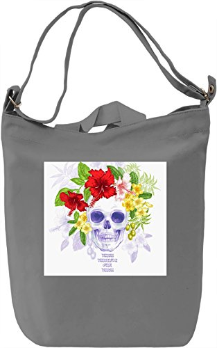 Skull With Flowers Crown Print Borsa Giornaliera Canvas Canvas Day Bag| 100% Premium Cotton Canvas| DTG Printing|