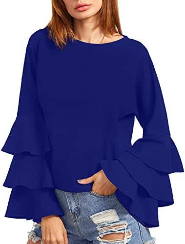 ZANZEA Women's Ruffle Long Sleeve Round neck Vintage Loose Tops Blouse