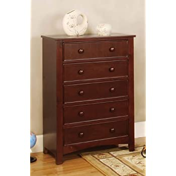 Furniture Of America Oscar 5 Drawer Bedroom Chest Cherry Kitchen Dining