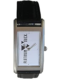 """Mighty Ducks"" Collectible Retro ""Platinum Ducks"" Theme Watch with Black Leather Strap"