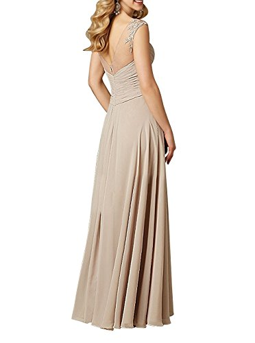 Party Chiffon Beaded Evening Prom Dress Bridesmaid Gown Gray AN132 Long Anlin Illusion fT8UqwZw
