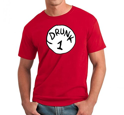 Drunk 1 Drinking Team Red Unisex Party Costume T-Shirt (XX-Large) (Drunk 1 Costume Tshirt)