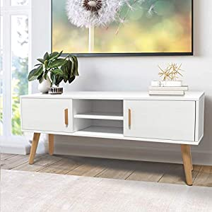 amzdeal TV Stand for TV Up to 55 Inch, TV Cabinet with 2 Doors and 2 Shelves, Console Cabinet Table Modern, White