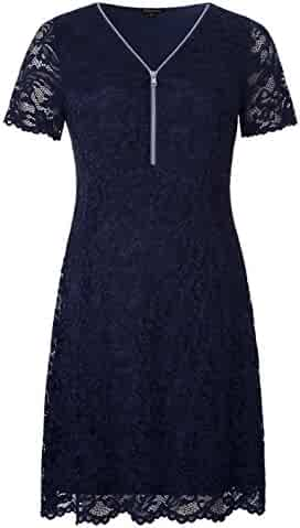 7573d06347e Chicwe Women s Plus Size Stretch Floral Lace Dress with Scalloped Hem and  Cuff - Knee Length