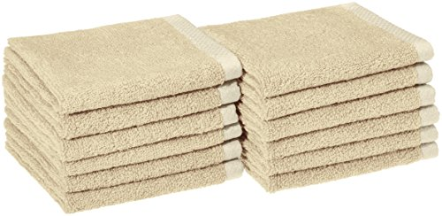 AmazonBasics Quick-Dry Bathroom Washcloth, 100% Cotton, Set of 12, Linen