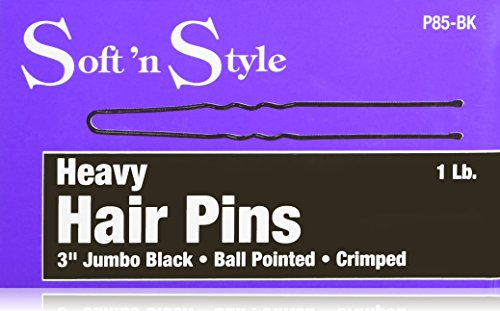 Jumbo Black Hair Pin - Soft 'N Style Jumbo Hair Pin 1 lb. Box, Black