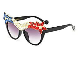 Crystal Sunglasses Cateye Shaped Jeweled Glasses