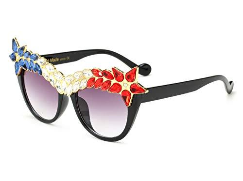 Large Women Crystal Sunglasses Cateye Shaped Jeweled Fashion Costume Glasses (Black Frame Colorful Rhinestones, 50)