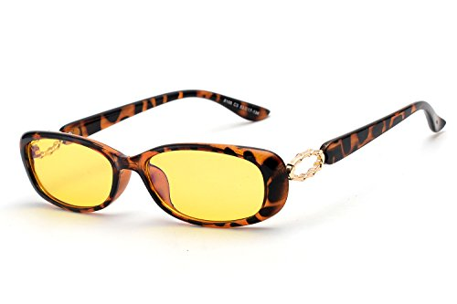 Anti-Blue Light Women Night Vision Driving Sunglasses, Radiation Protection, Fashion Oval Small Glasses 8100 (Leopard Frame)