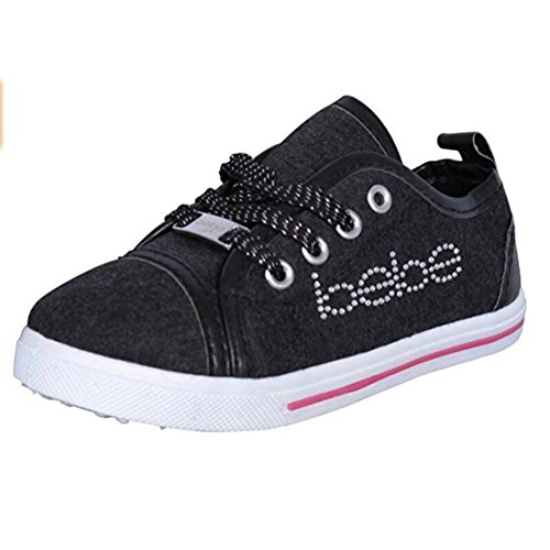 Price comparison product image bebe Toddler Girls Low Top Heather Jersey Sneakers with Rhinestones, Black Pink, 11/12